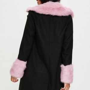 NWT!! Black Formal Coat with Pink cuffs/ Collar